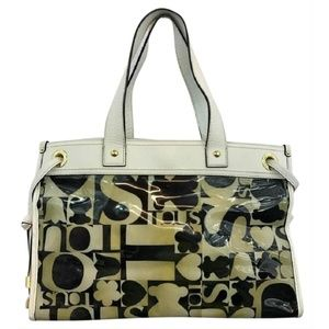 TOUS Leather Trim Printed Nylon White Vinyl Tote